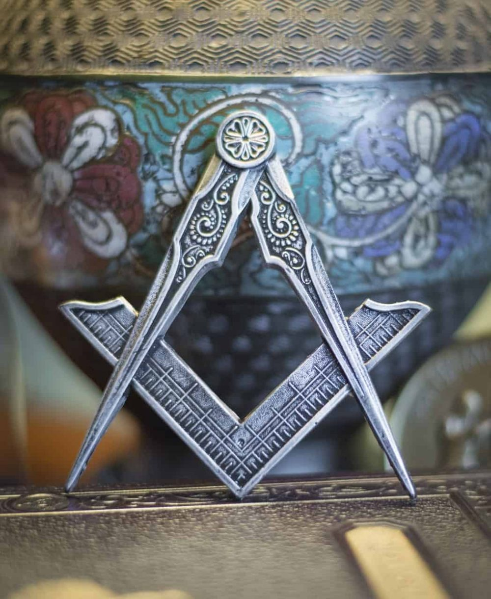 Square Compasses Freemason Masonic Ornament Magnet Pewter
