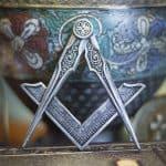Square Compasses Freemason Masonic Ornament Magnet Pewter