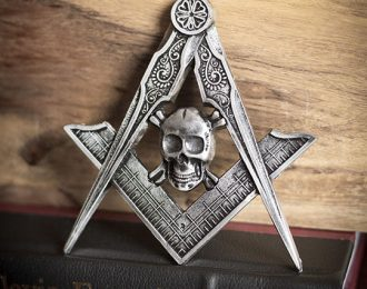 Metallic Square and Compass Emblem with Skull and Crossbones
