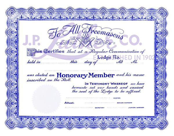 Free Honorary Masonic Membership Certificate - Fossil Bluff