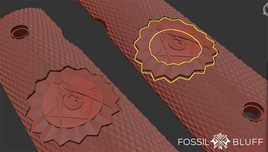 Fossil Bluff 1911 Grips Form2 Formlabs 3D Print Masonic Freemason
