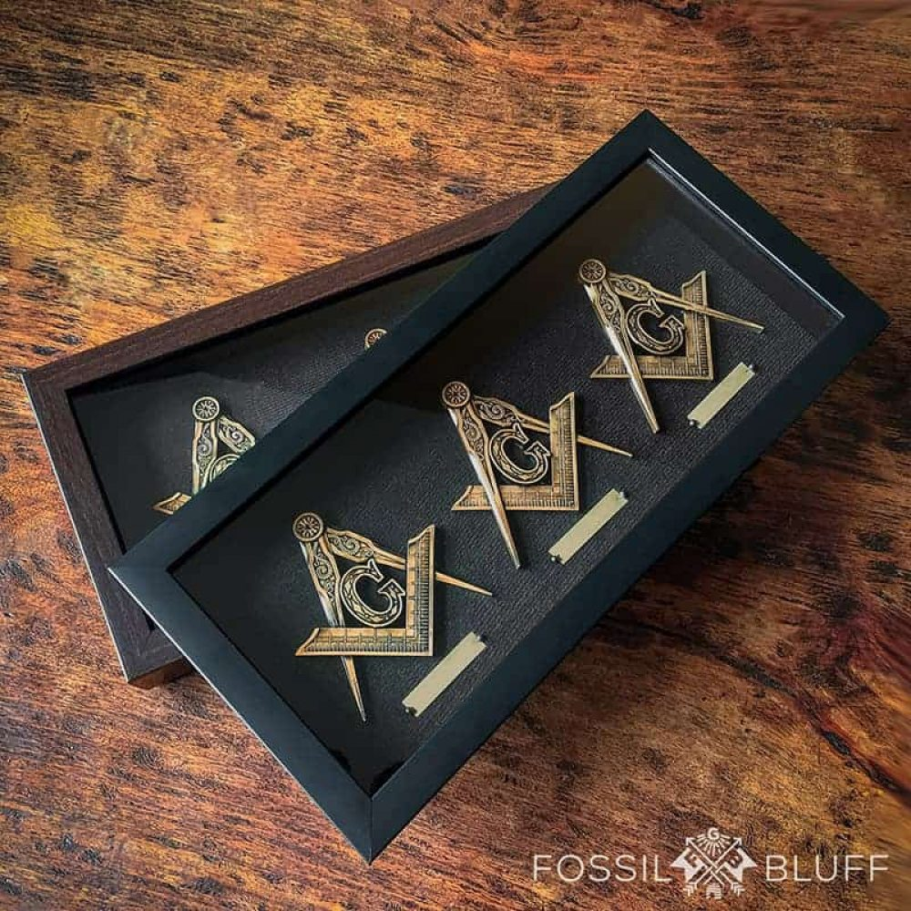 Square Compasses Tri Lux Shadowbox Fossil Bluff