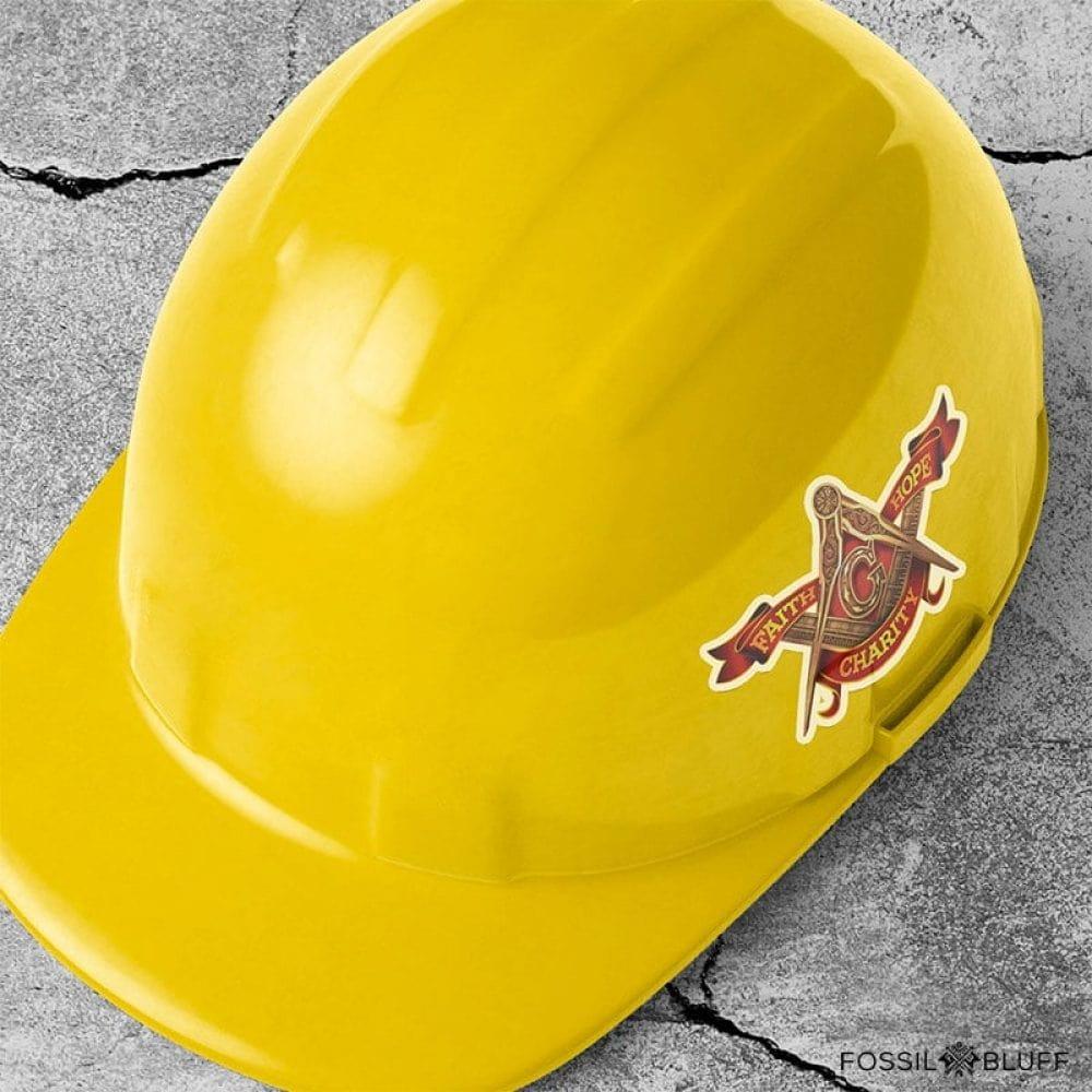 Hard Hat Sticker - Freemason - Fossil Bluff