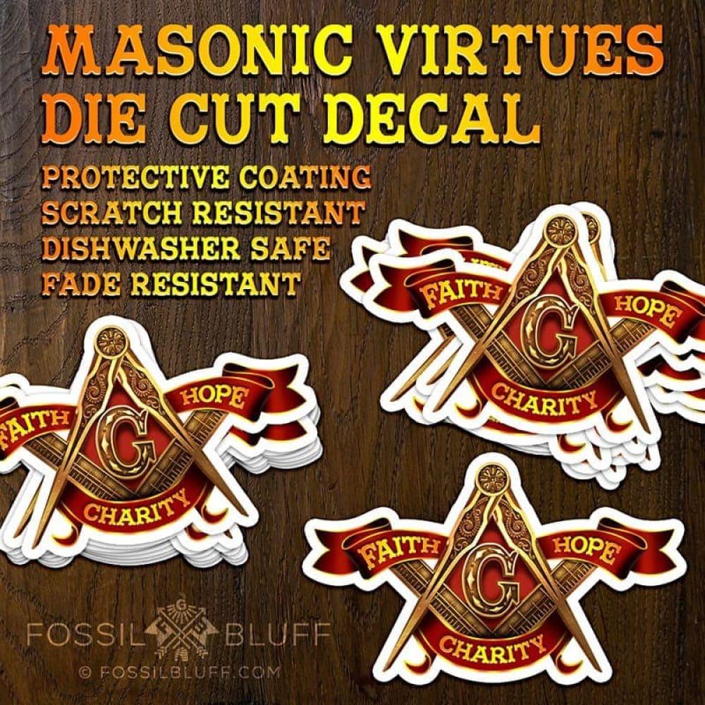 Masonic Virtues Die Cut Decal - Fossil Bluff