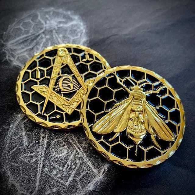 Masonic Honey Bee Hive Coin