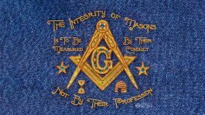 Integrity Embroidery Denim Masonic Wallpaper