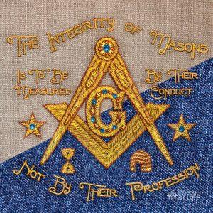 Integrity Embroidery Linen Denim Masonic Wallpaper