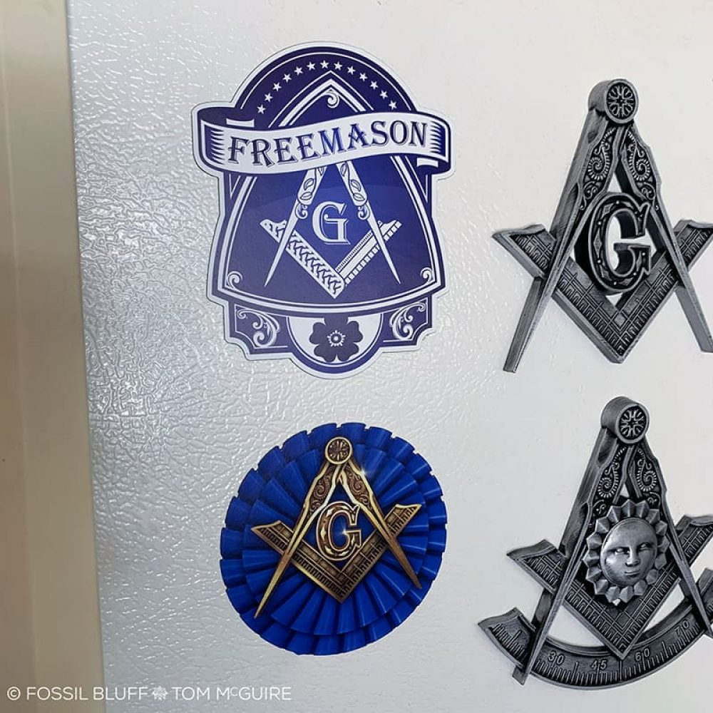 Fossil Bluff Blue Lodge Freemason Die Cut Magnet
