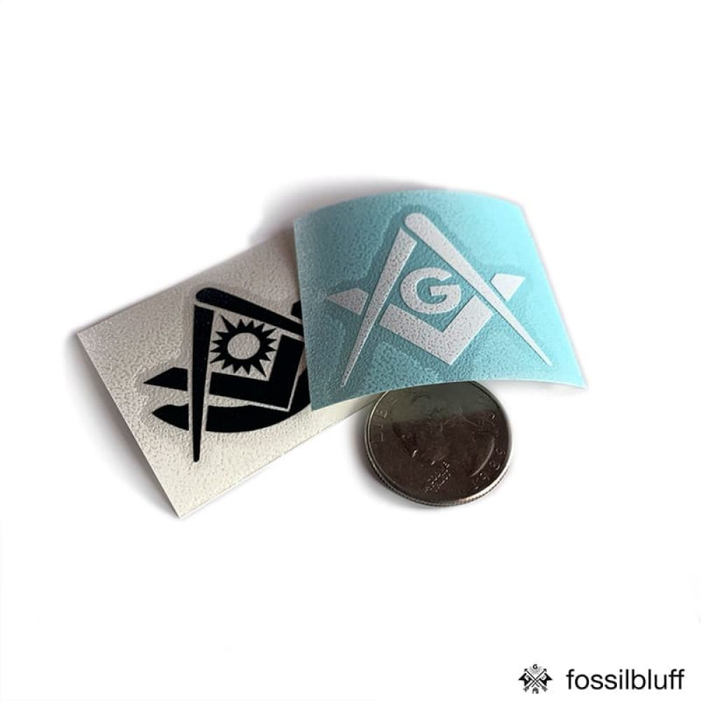 Fossil Bluff Tiny Masonic Vinyl Sticker Decal 001