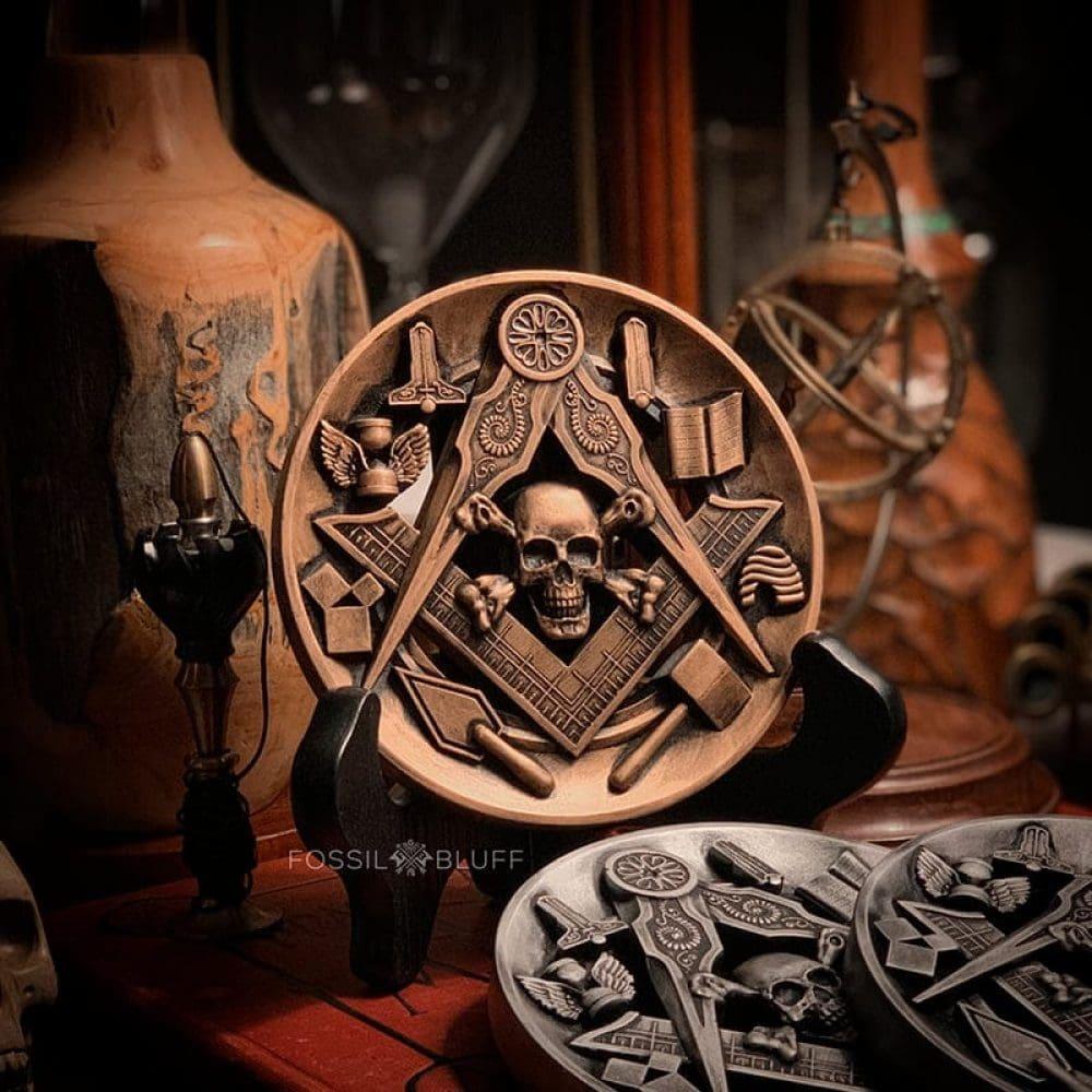 Masonic Working Tools Skull Bones Menento Mori Medallion Shield Fossil Bluff - Vintage Antique Gold Pewter