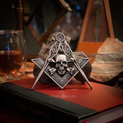 Memento Mori Square Compasses Freemason Masonic Skull Bones Pirate Pewter Antique Gold Walnut Black Wood Easel