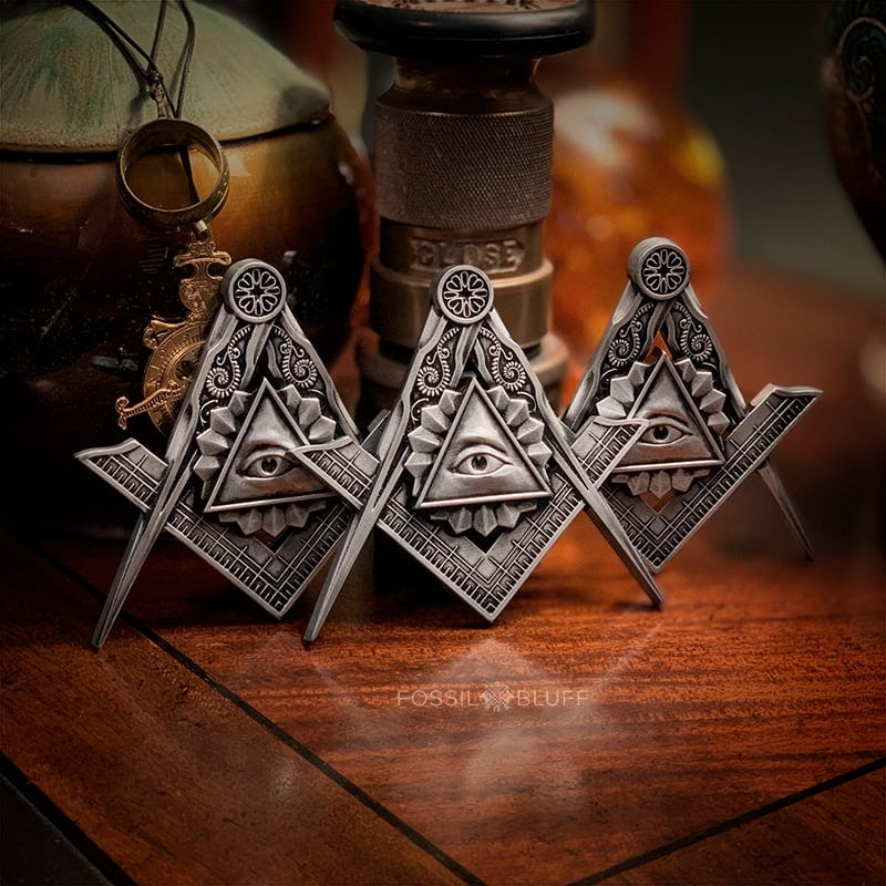 All Seeing Eye Providence Freemason Masonic Emblem Tri Lux Pewter Walnut Easel EA FC MM 2