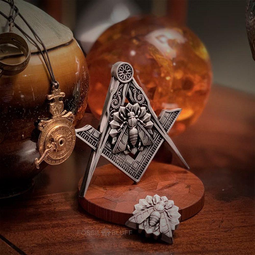 Industry Honey Bee Freemason Masonic Emblem Pewter Master Mason MM